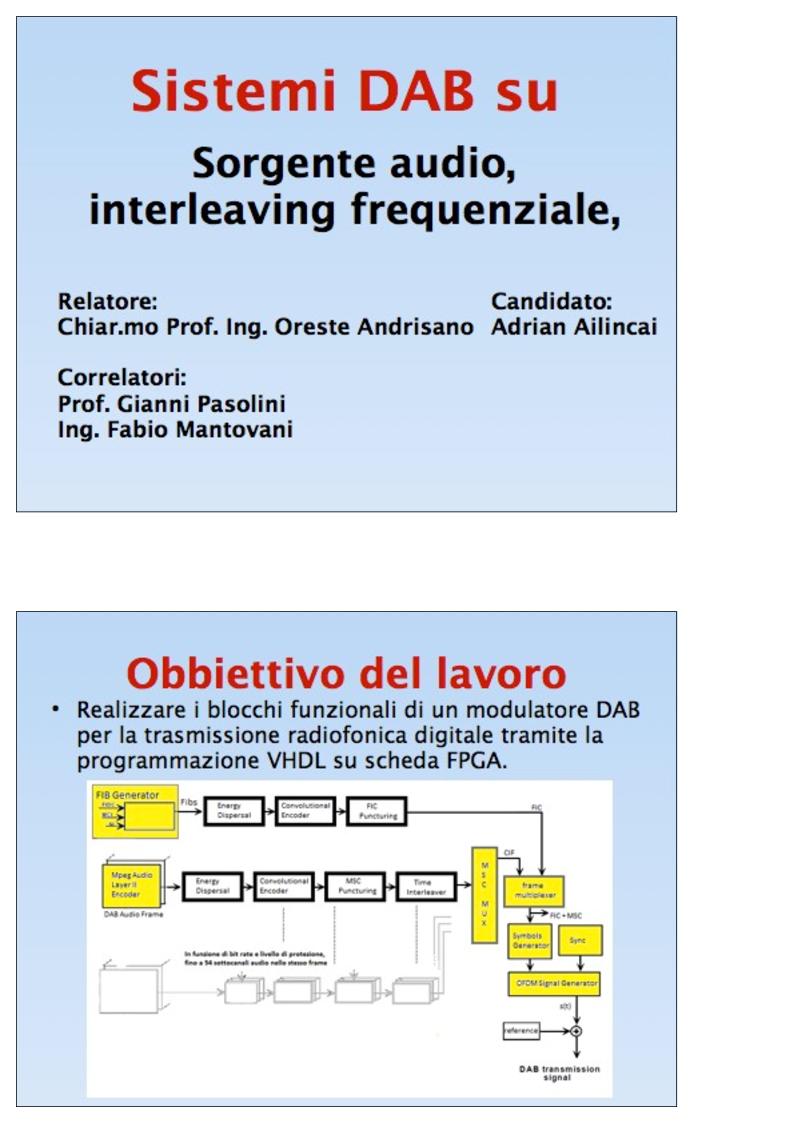 Anteprima della tesi: Sistemi DAB su FPGA: Sorgente audio, interleavingfrequenziale, modulazione OFDM, Pagina 1