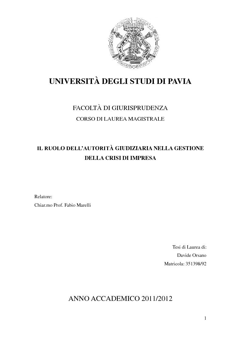 Anteprima della tesi: Il ruolo dell'autorità giudiziaria nella gestione della crisi di impresa, Pagina 1