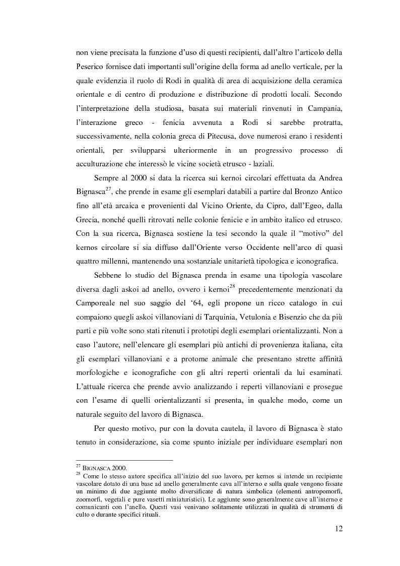 Anteprima della tesi: Gli askoi ad anello tardo-villanoviani ed orientalizzanti dell'Italia centrale tirrenica, Pagina 10