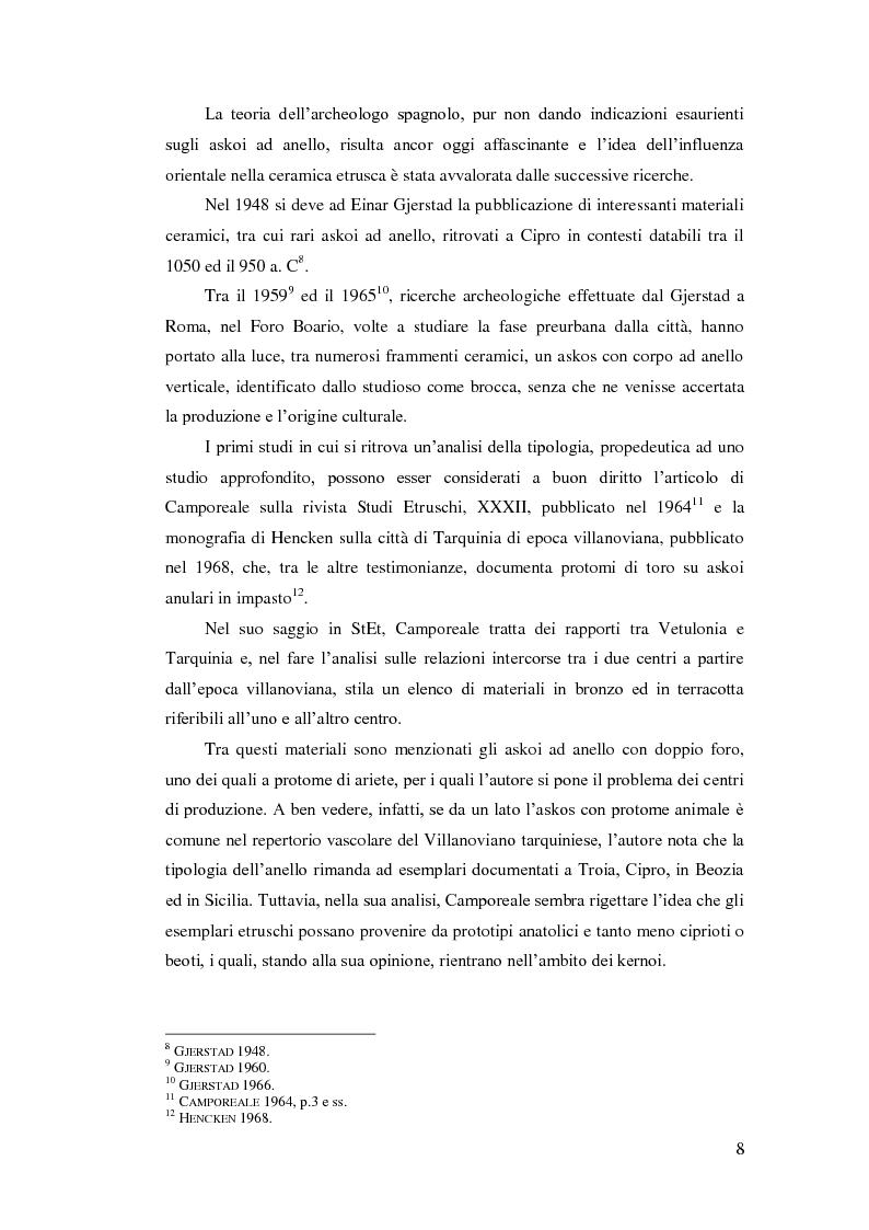 Anteprima della tesi: Gli askoi ad anello tardo-villanoviani ed orientalizzanti dell'Italia centrale tirrenica, Pagina 6