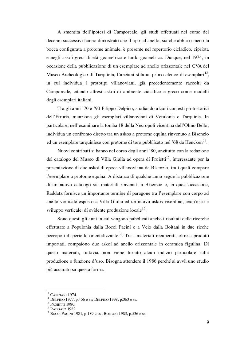 Anteprima della tesi: Gli askoi ad anello tardo-villanoviani ed orientalizzanti dell'Italia centrale tirrenica, Pagina 7