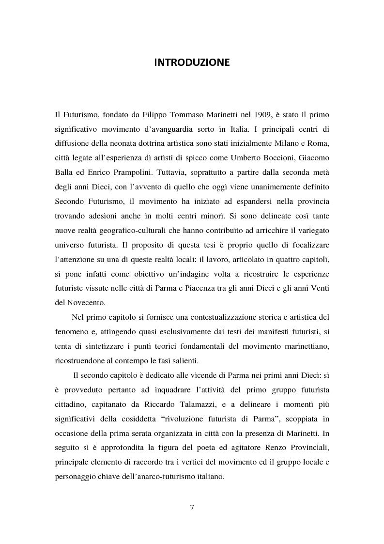 Anteprima della tesi: Esperienze futuriste tra Parma e Piacenza, Pagina 2