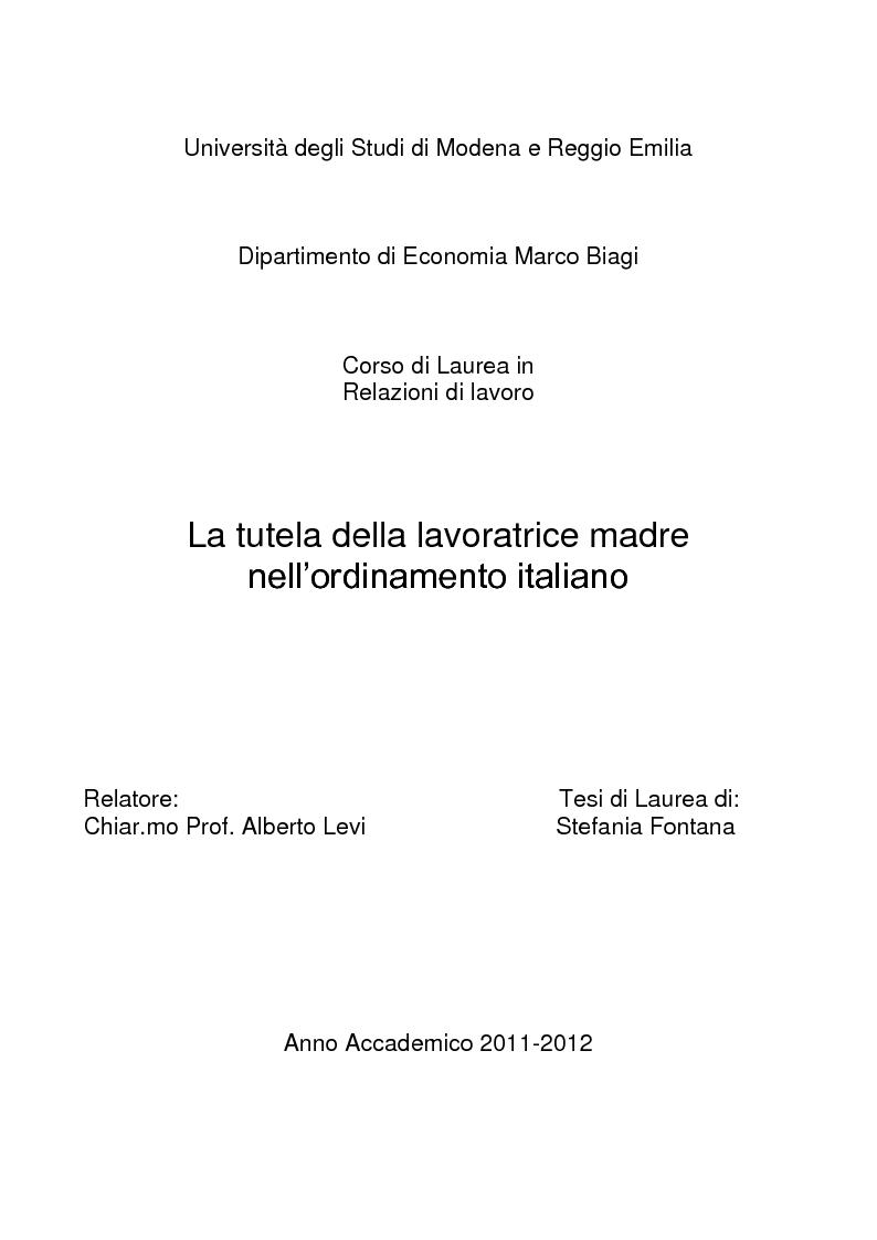 Anteprima della tesi: La tutela della lavoratrice madre nell'ordinamento italiano, Pagina 1