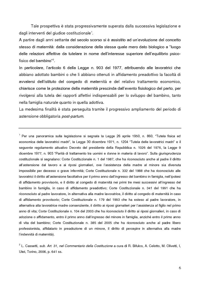 Anteprima della tesi: La tutela della lavoratrice madre nell'ordinamento italiano, Pagina 3