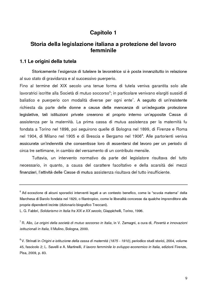 Anteprima della tesi: La tutela della lavoratrice madre nell'ordinamento italiano, Pagina 5