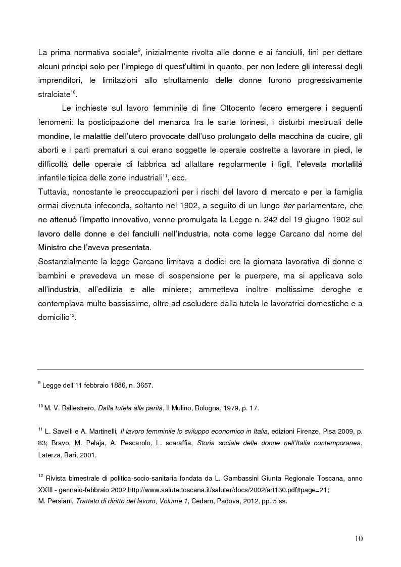 Anteprima della tesi: La tutela della lavoratrice madre nell'ordinamento italiano, Pagina 6