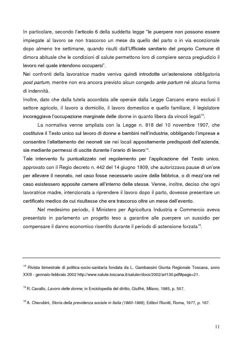 Anteprima della tesi: La tutela della lavoratrice madre nell'ordinamento italiano, Pagina 7