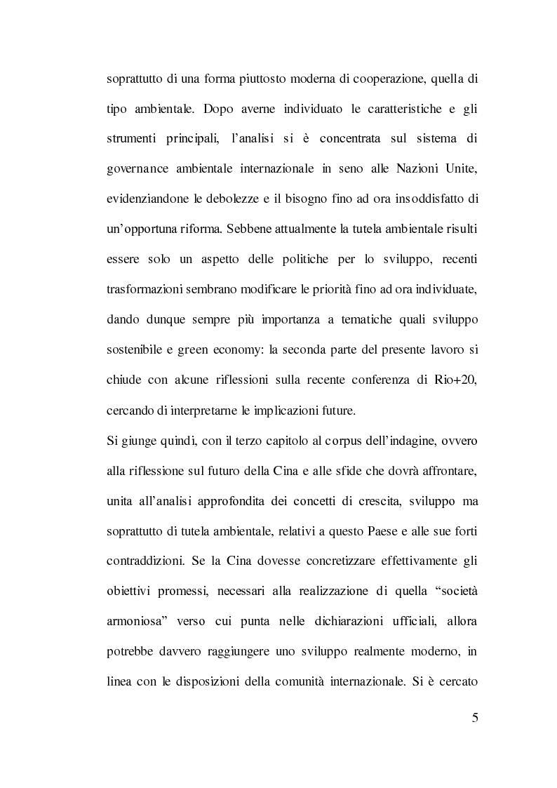 Anteprima della tesi: Cooperazione Internazionale allo Sviluppo e Tutela Ambientale: Il Caso Cinese, Pagina 4