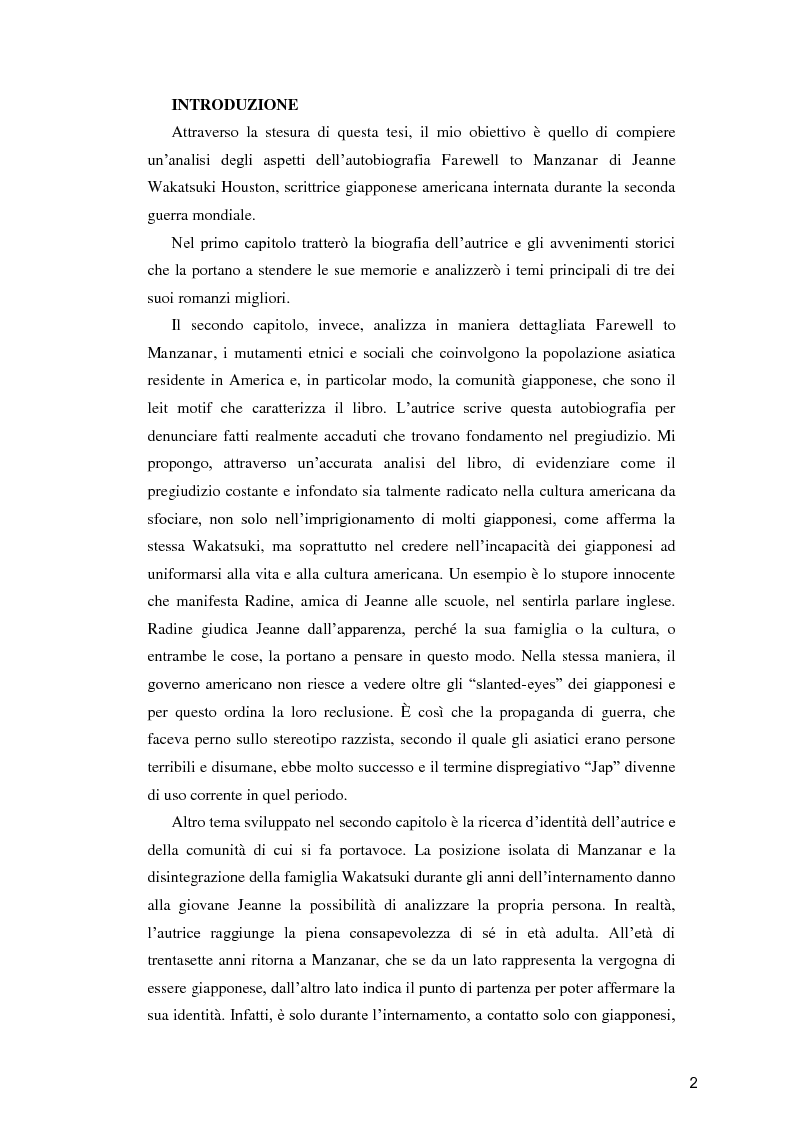 """Anteprima della tesi: Jeanne Wakatsuki Houston: alla ricerca dell'io in """"Farewell to Manzanar"""", Pagina 2"""