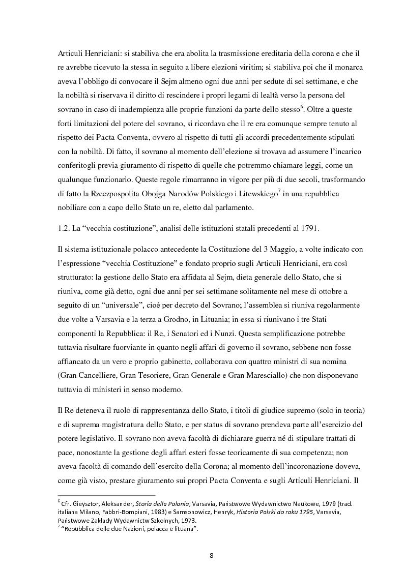 Anteprima della tesi: La Costituzione del 3 maggio 1791. Evoluzione e rivoluzione in Polonia alla fine del XVIII secolo., Pagina 6