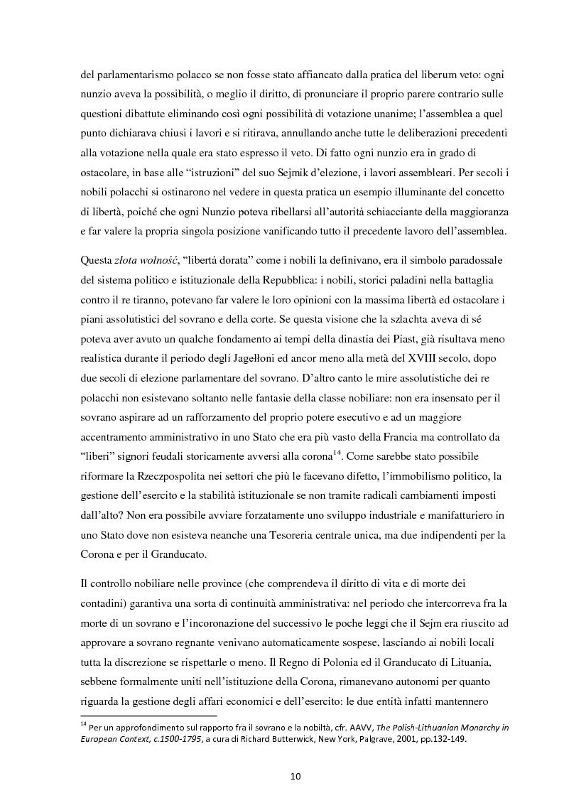 Anteprima della tesi: La Costituzione del 3 maggio 1791. Evoluzione e rivoluzione in Polonia alla fine del XVIII secolo., Pagina 8