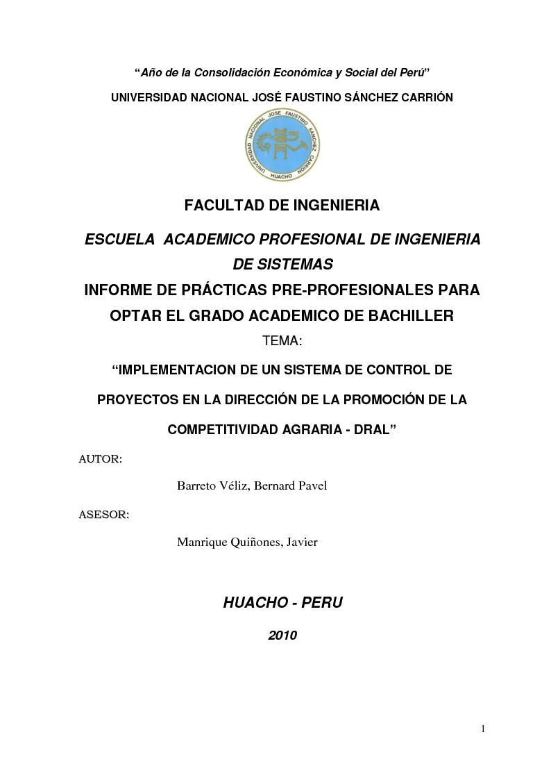 Anteprima della tesi: Implementacion de un Sistema de Control de Proyectos en la Dirección de la Promoción de la Competitividad Agraria - Dral, Pagina 1