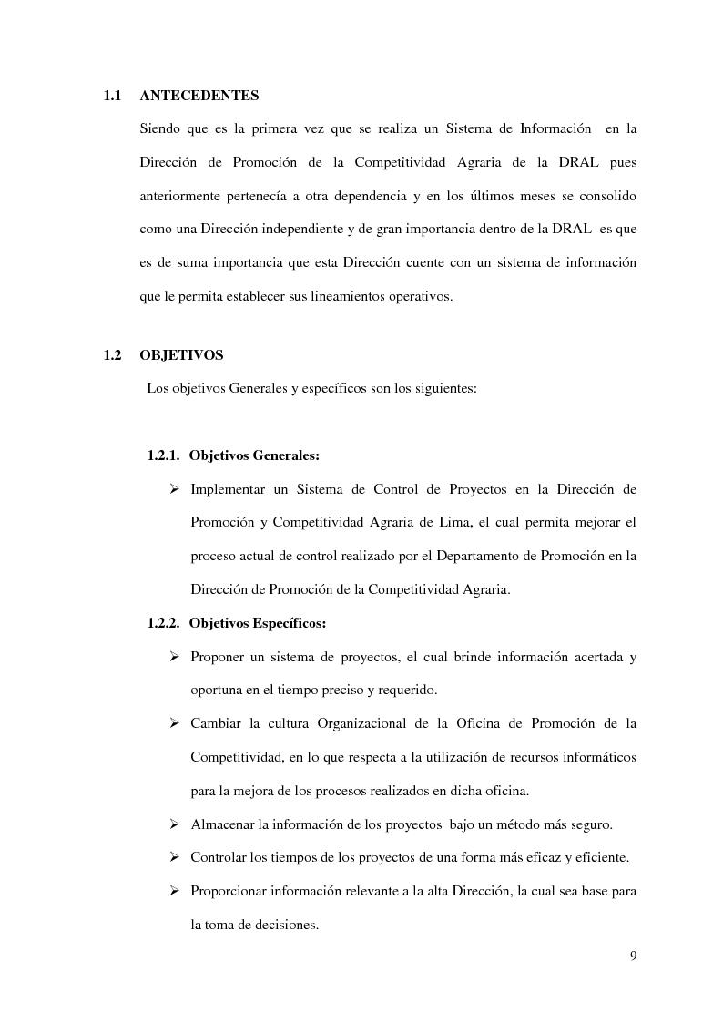 Anteprima della tesi: Implementacion de un Sistema de Control de Proyectos en la Dirección de la Promoción de la Competitividad Agraria - Dral, Pagina 5