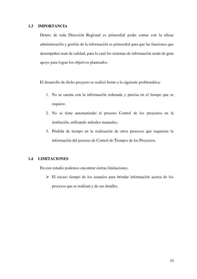 Anteprima della tesi: Implementacion de un Sistema de Control de Proyectos en la Dirección de la Promoción de la Competitividad Agraria - Dral, Pagina 6