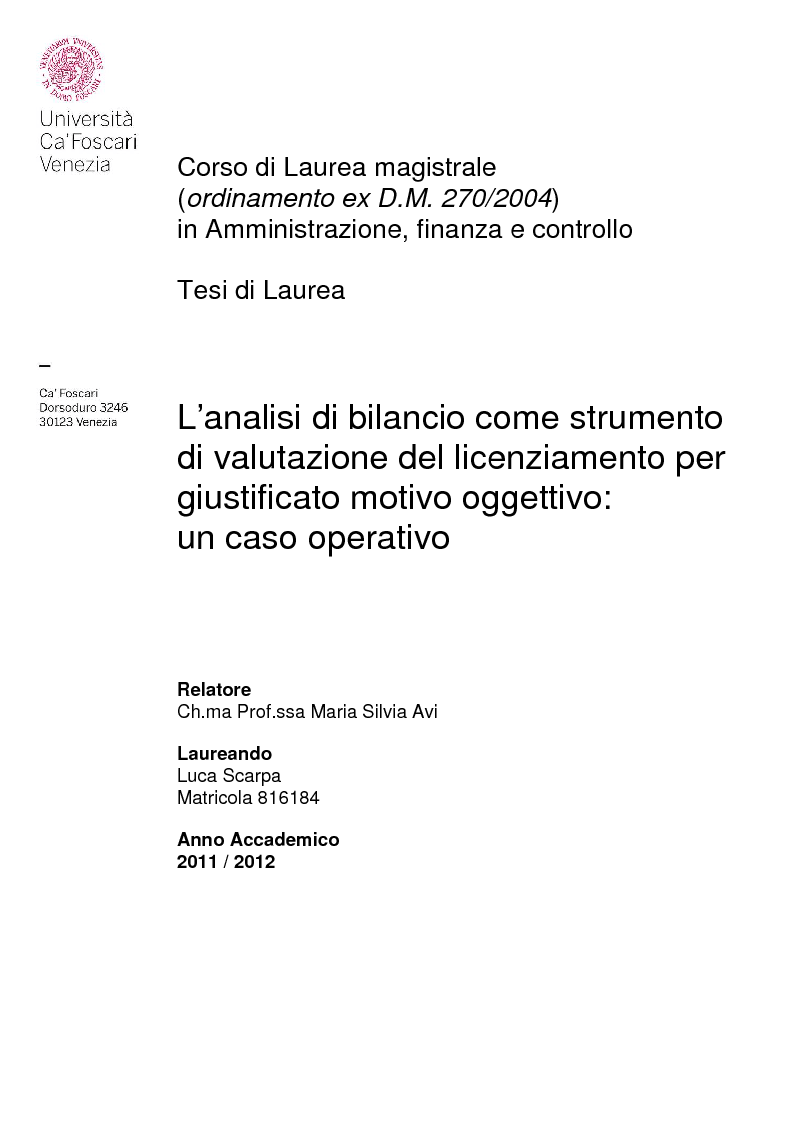 Anteprima della tesi: L'analisi di bilancio come strumento di valutazione del licenziamento per giustificato motivo oggettivo: un caso operativo, Pagina 1