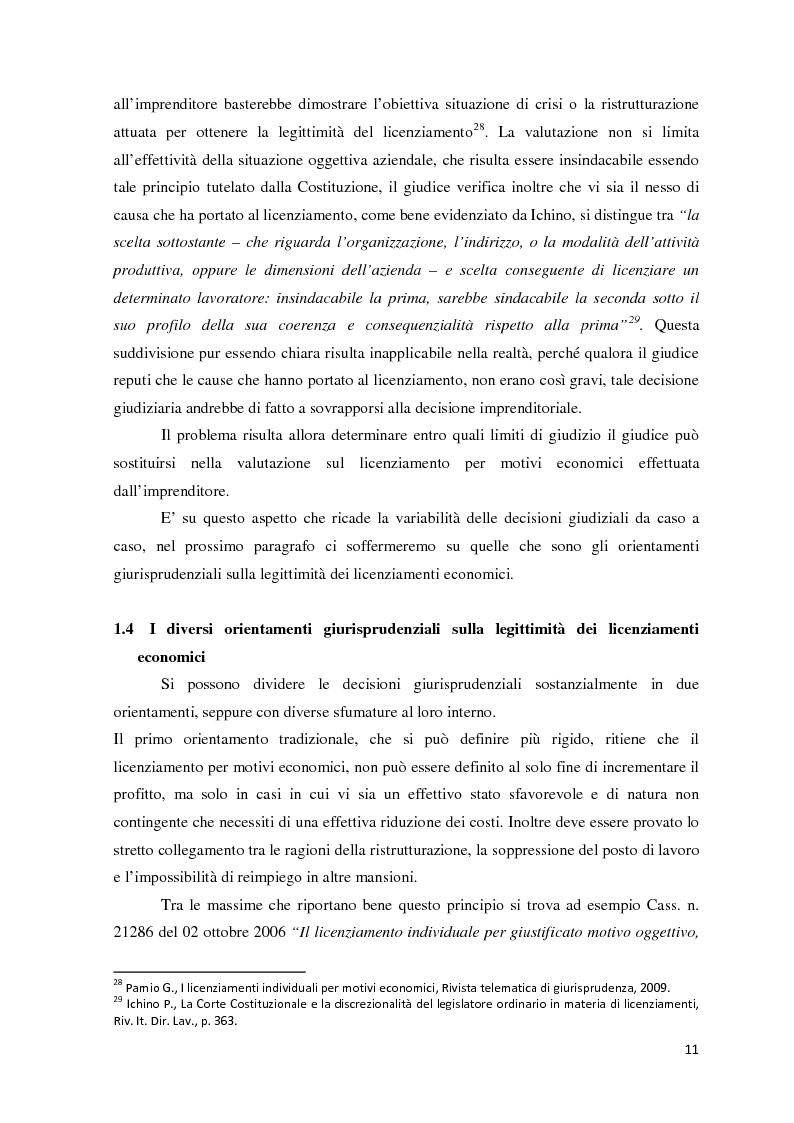 Anteprima della tesi: L'analisi di bilancio come strumento di valutazione del licenziamento per giustificato motivo oggettivo: un caso operativo, Pagina 10