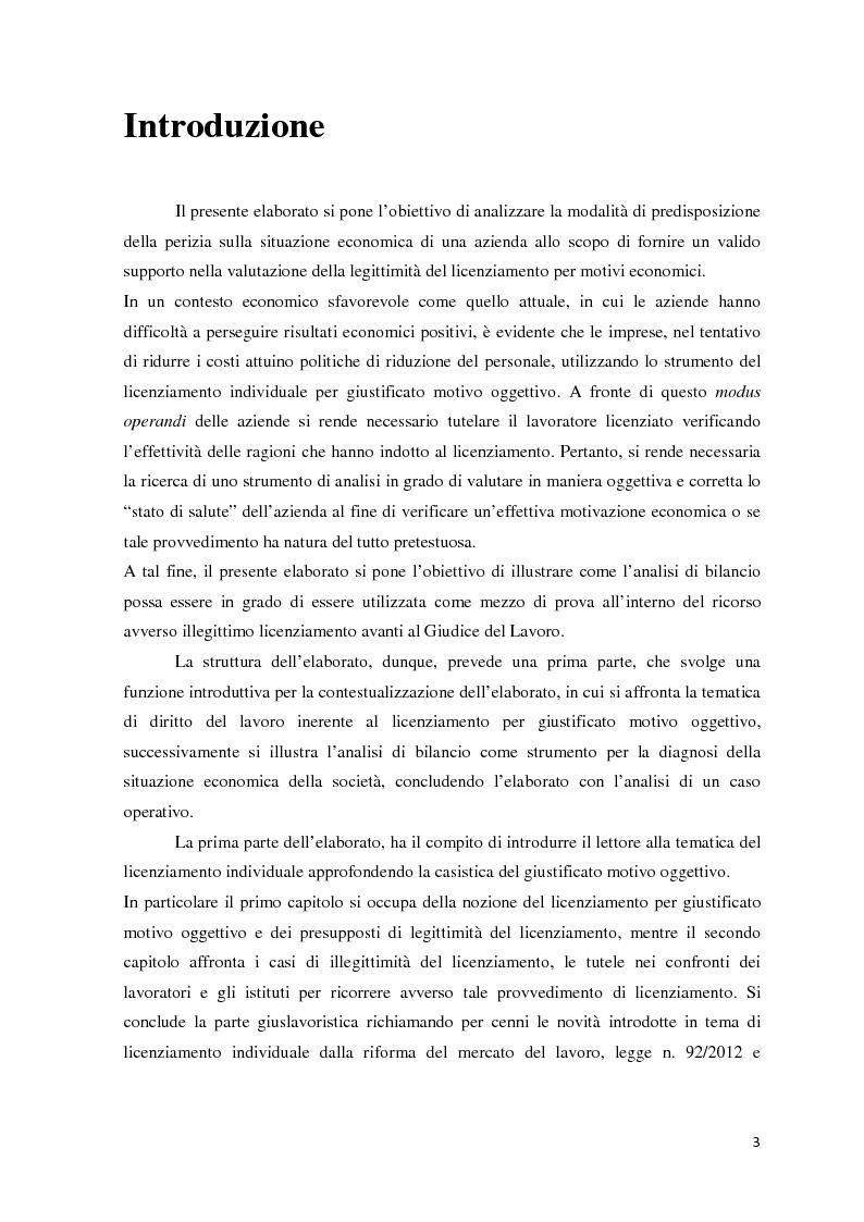 Anteprima della tesi: L'analisi di bilancio come strumento di valutazione del licenziamento per giustificato motivo oggettivo: un caso operativo, Pagina 2