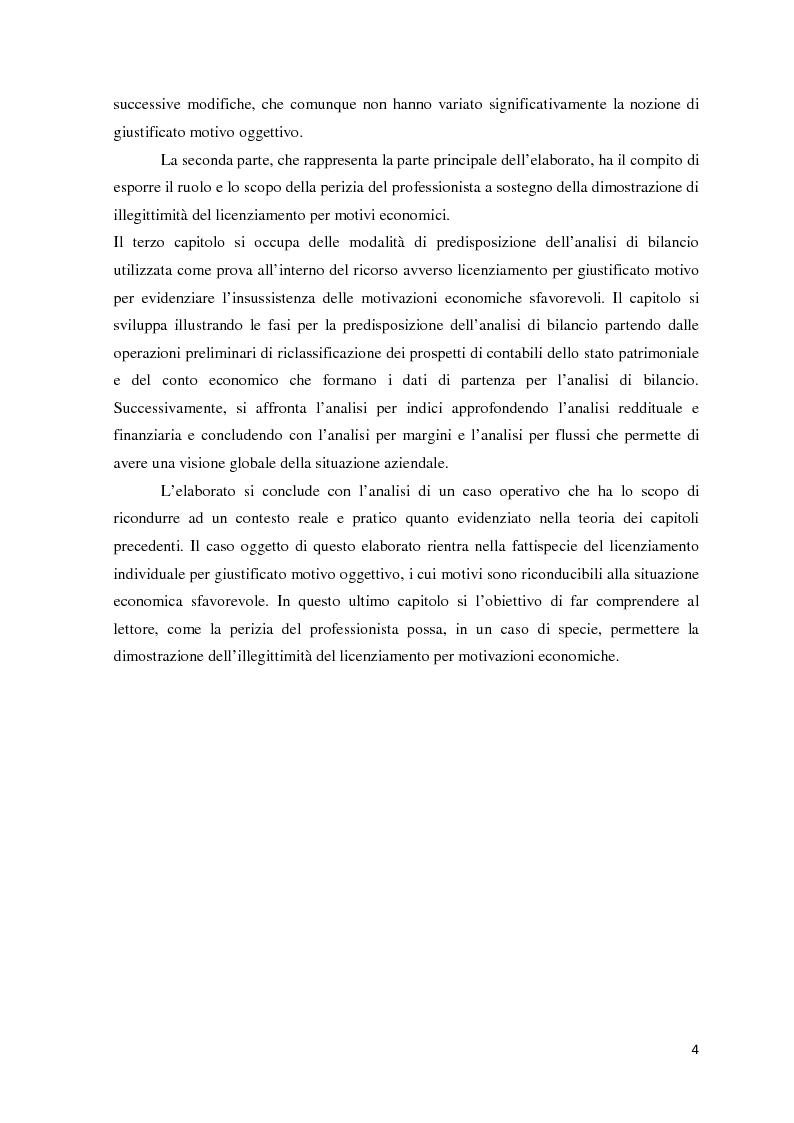 Anteprima della tesi: L'analisi di bilancio come strumento di valutazione del licenziamento per giustificato motivo oggettivo: un caso operativo, Pagina 3