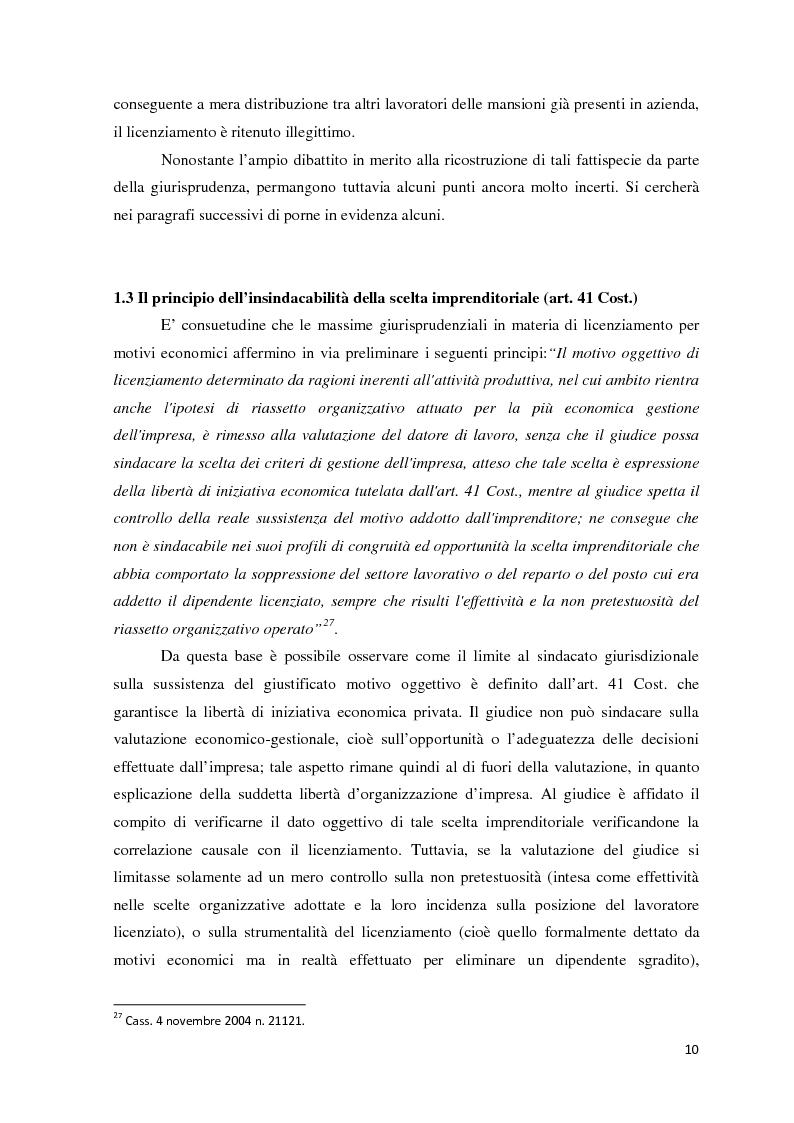 Anteprima della tesi: L'analisi di bilancio come strumento di valutazione del licenziamento per giustificato motivo oggettivo: un caso operativo, Pagina 9