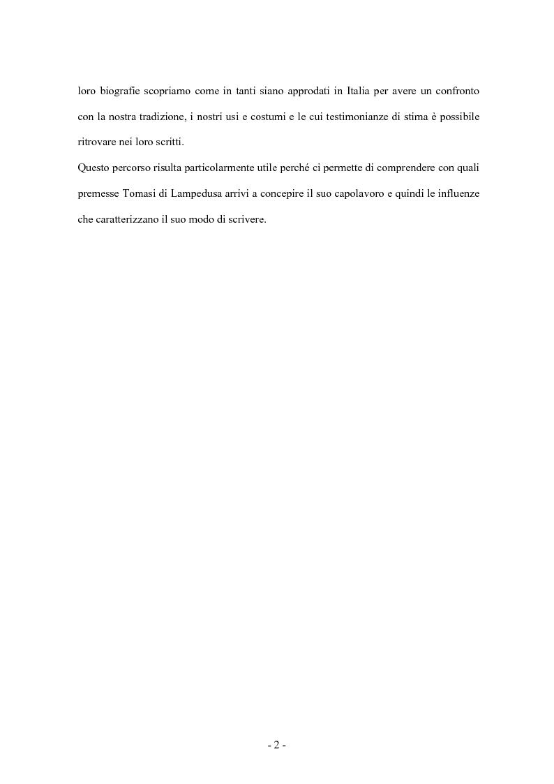 Anteprima della tesi: Giuseppe Tomasi di Lampedusa: uno sguardo al di là delle Alpi, Pagina 3