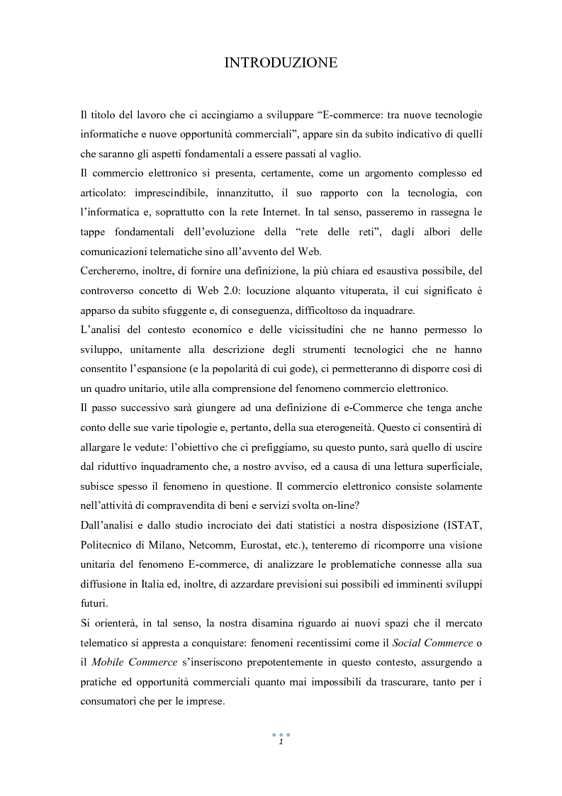 Anteprima della tesi: E-Commerce: tra nuove tecnologie informatiche e nuove opportunità commerciali, Pagina 2