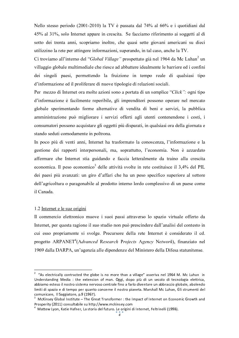 Anteprima della tesi: E-Commerce: tra nuove tecnologie informatiche e nuove opportunità commerciali, Pagina 5