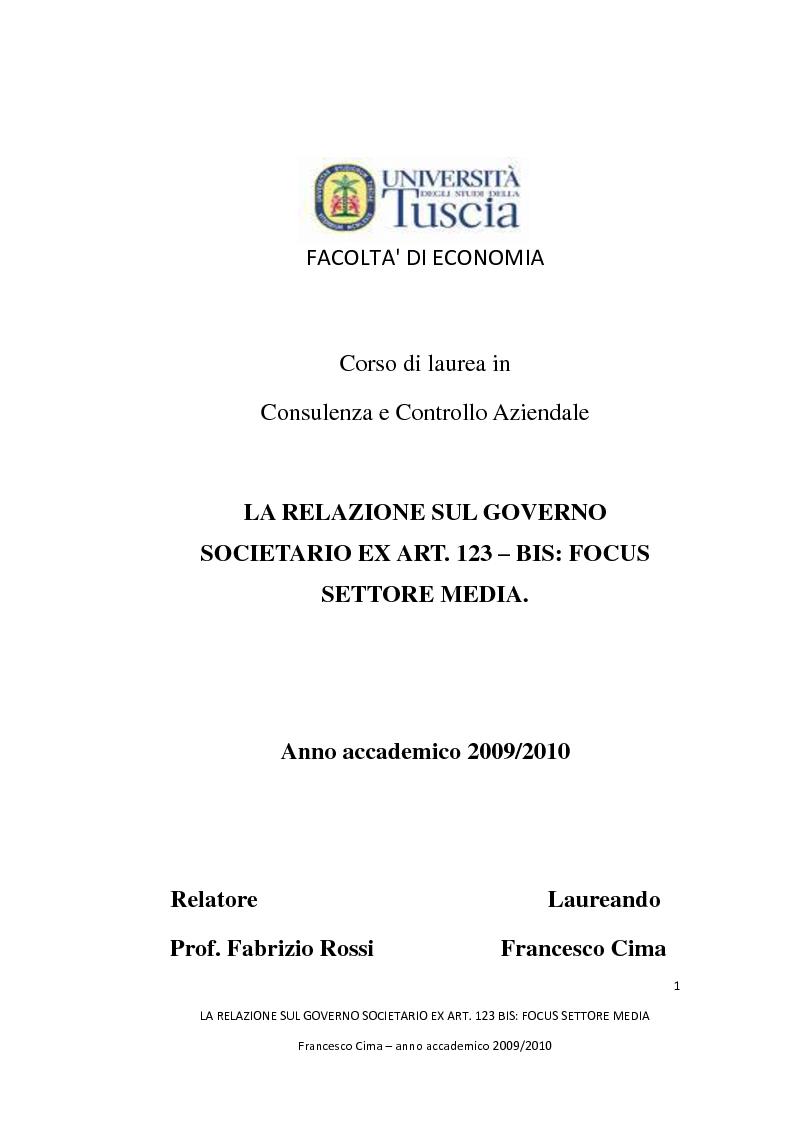 Anteprima della tesi: La relazione sul governo societario ex. art. 123-bis: focus settore media, Pagina 1