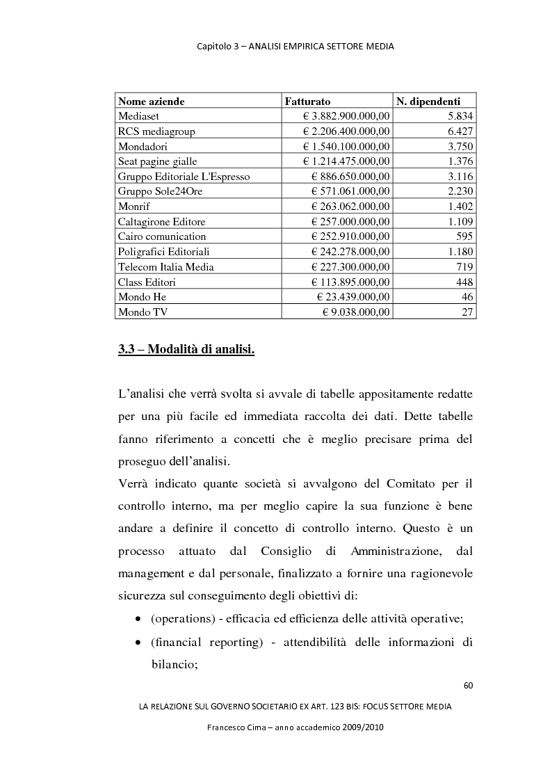 Anteprima della tesi: La relazione sul governo societario ex. art. 123-bis: focus settore media, Pagina 4
