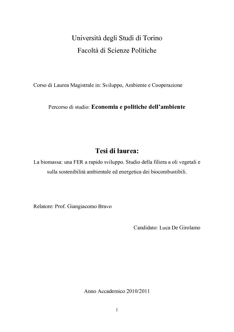 Anteprima della tesi: La biomassa: una FER a rapido sviluppo. Studio della filiera a oli vegetali e sulla sostenibilità ambientale ed energetica dei biocombustibili., Pagina 1