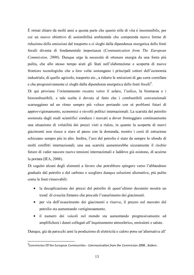 Anteprima della tesi: La biomassa: una FER a rapido sviluppo. Studio della filiera a oli vegetali e sulla sostenibilità ambientale ed energetica dei biocombustibili., Pagina 10