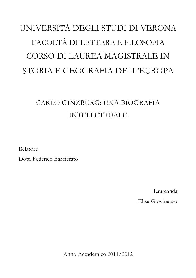 Anteprima della tesi: Carlo Ginzburg: una biografia intellettuale, Pagina 1