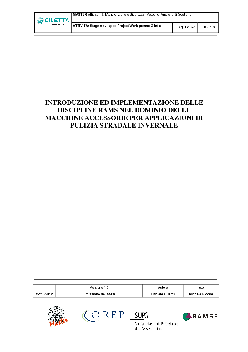 Anteprima della tesi: Introduzione ed implementazione delle discipline RAMS nel dominio delle macchine accessorie per applicazioni di pulizia stradale invernale, Pagina 1