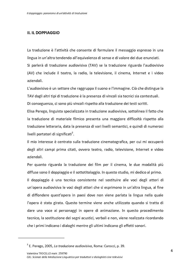 Anteprima della tesi: Il doppiaggio: panorama di un'attività di traduzione, Pagina 4