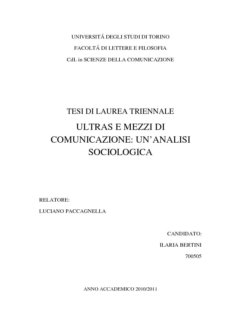 Anteprima della tesi: Ultras e mezzi di comunicazione: un'analisi sociologica, Pagina 1