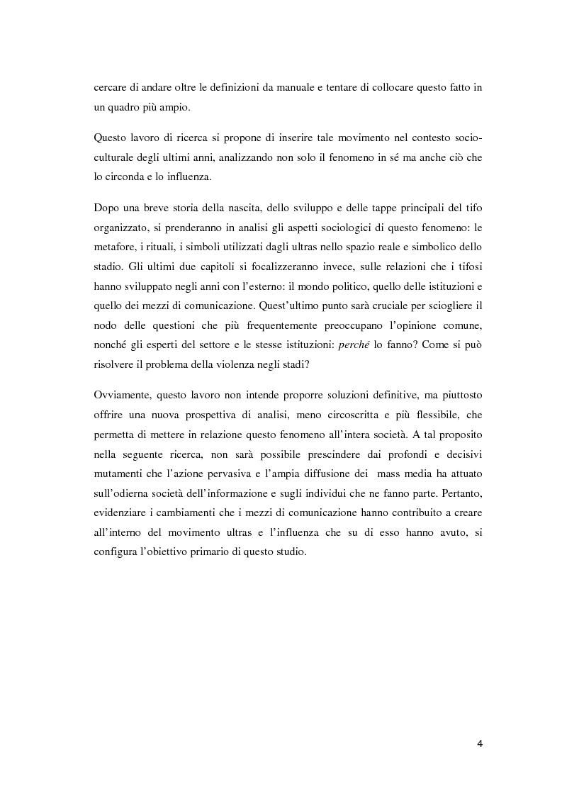 Anteprima della tesi: Ultras e mezzi di comunicazione: un'analisi sociologica, Pagina 3