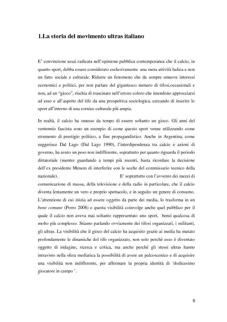 Anteprima della tesi: Ultras e mezzi di comunicazione: un'analisi sociologica, Pagina 4
