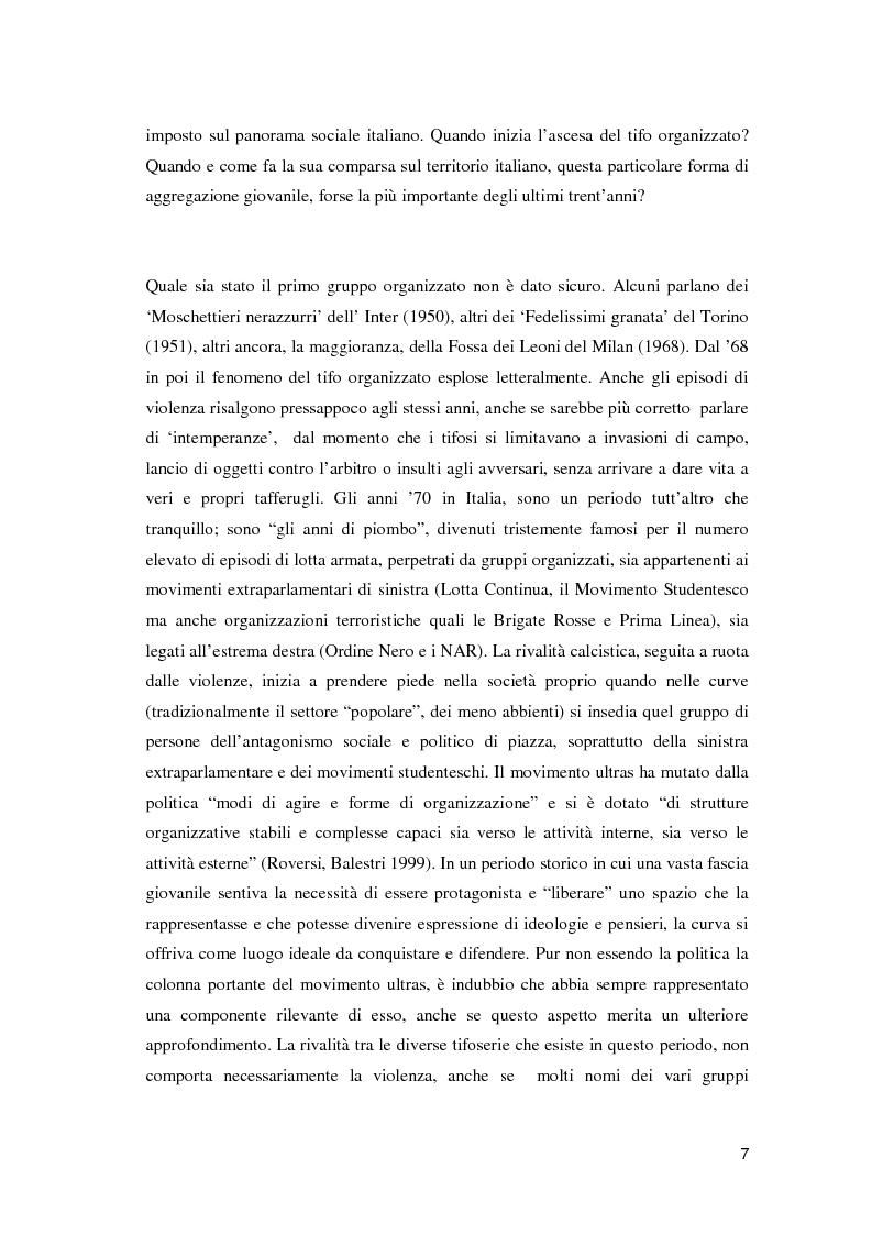 Anteprima della tesi: Ultras e mezzi di comunicazione: un'analisi sociologica, Pagina 6