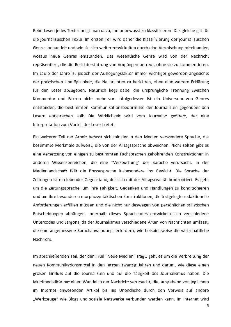 Anteprima della tesi: Journalistische Texte: Genres, Sprache, Neue Medien, Pagina 3