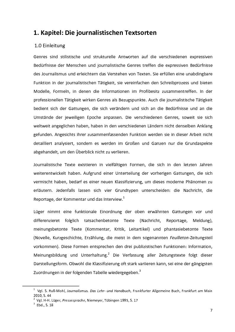 Anteprima della tesi: Journalistische Texte: Genres, Sprache, Neue Medien, Pagina 5