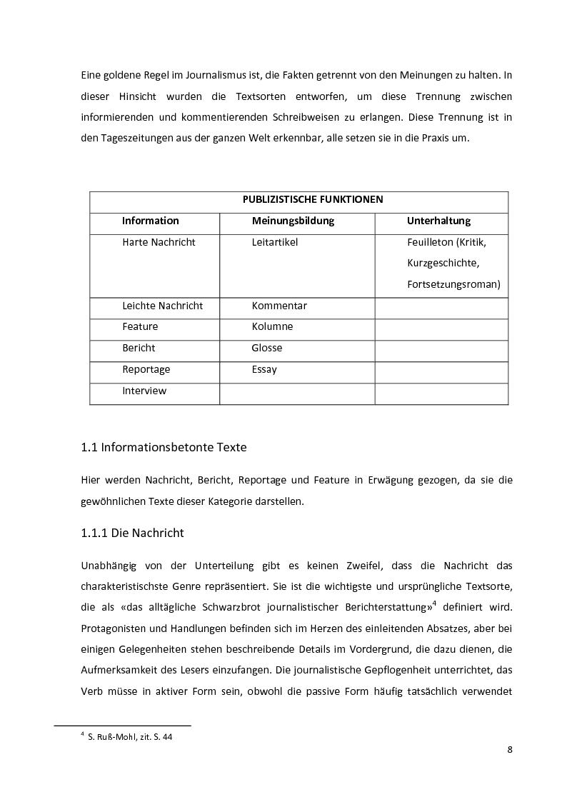 Anteprima della tesi: Journalistische Texte: Genres, Sprache, Neue Medien, Pagina 6