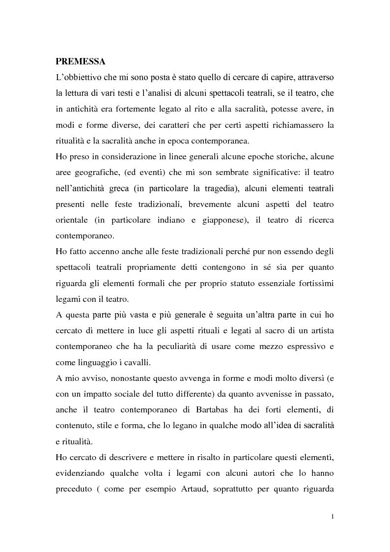 Anteprima della tesi: Rapporti tra teatralità e ritualità con particolare riferimento a Bartabas, Pagina 2