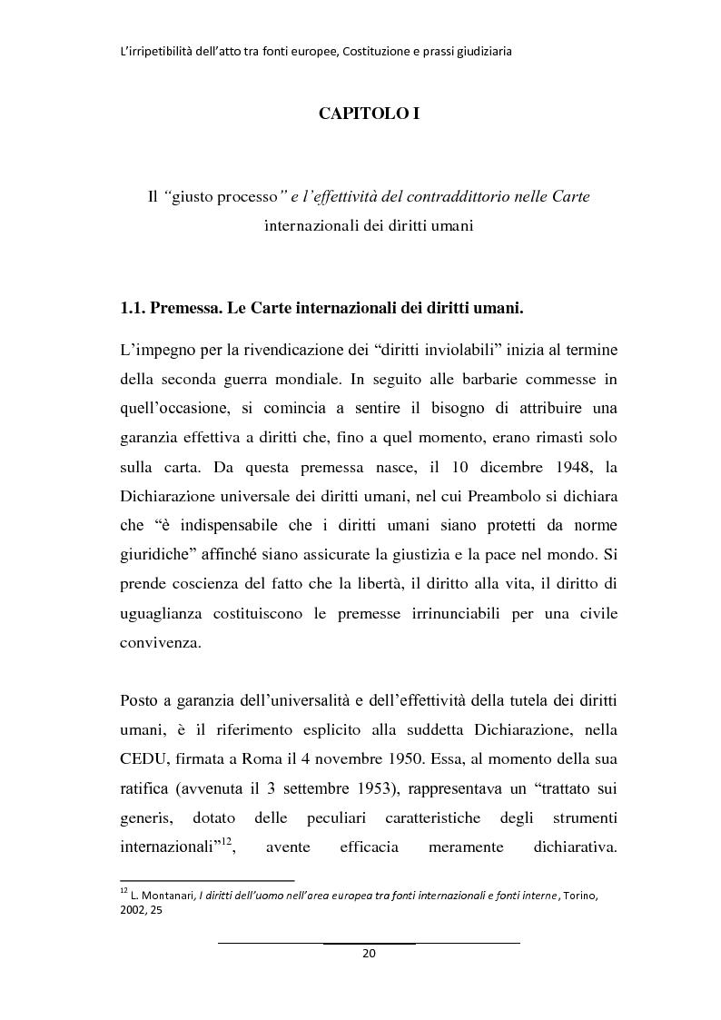 Anteprima della tesi: L'irripetibilità dell'atto tra fonti europee, Costituzione e prassi giudiziaria, Pagina 12