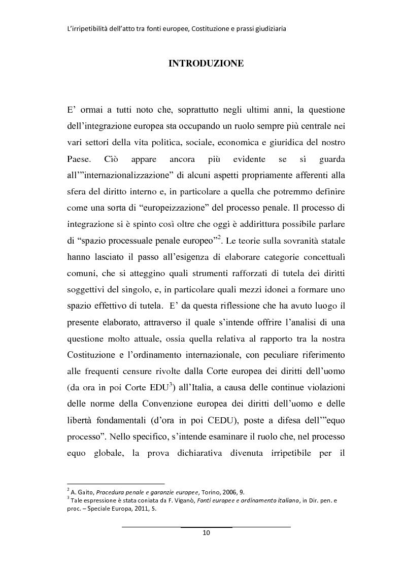 Anteprima della tesi: L'irripetibilità dell'atto tra fonti europee, Costituzione e prassi giudiziaria, Pagina 2