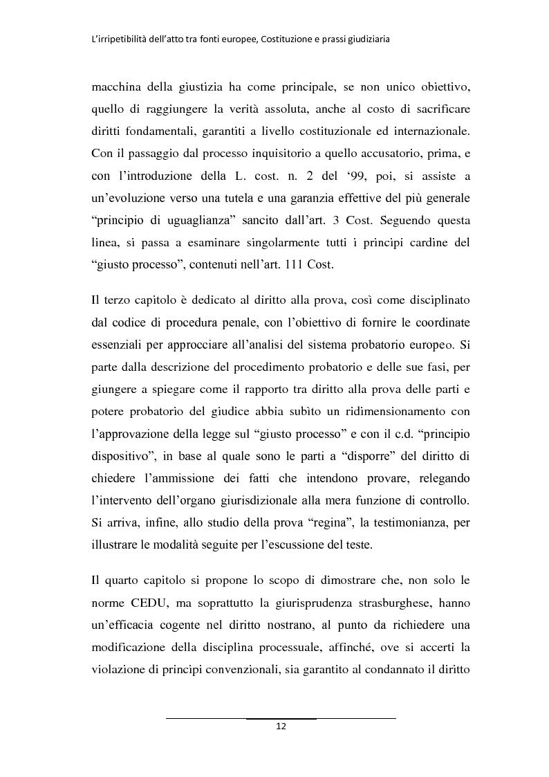 Anteprima della tesi: L'irripetibilità dell'atto tra fonti europee, Costituzione e prassi giudiziaria, Pagina 4