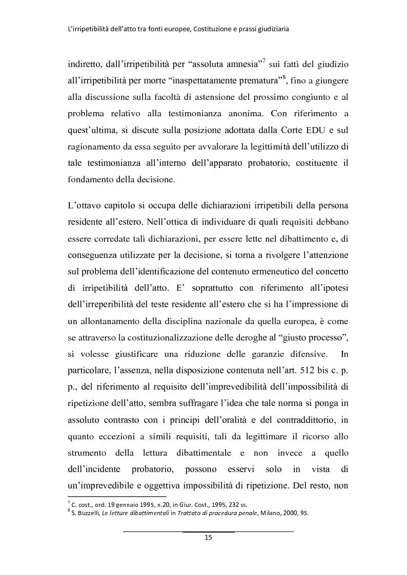 Anteprima della tesi: L'irripetibilità dell'atto tra fonti europee, Costituzione e prassi giudiziaria, Pagina 7