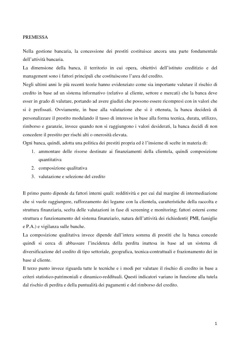 Anteprima della tesi: La valutazione del merito di credito delle PMI. Il caso della Bcc del Garda, Pagina 2