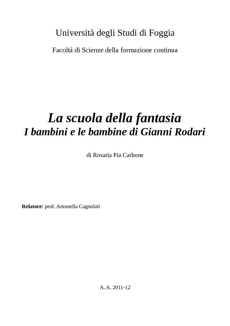 Anteprima della tesi: La scuola della fantasia. I bambini e le bambine di Gianni Rodari, Pagina 1