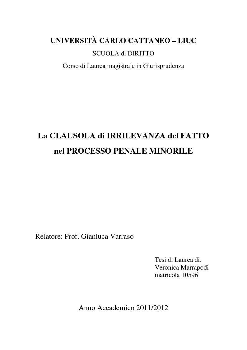 Anteprima della tesi: La clausola di irrilevanza del fatto nel processo penale minorile, Pagina 1
