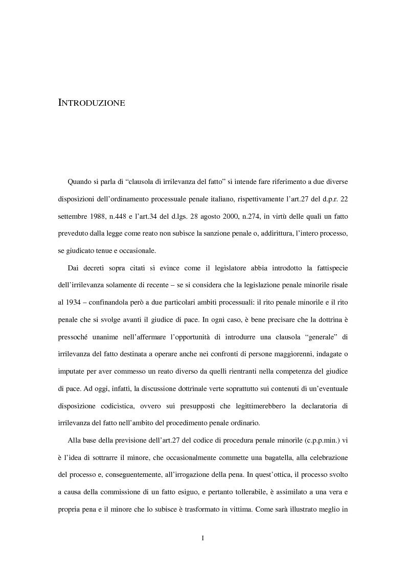 Anteprima della tesi: La clausola di irrilevanza del fatto nel processo penale minorile, Pagina 2