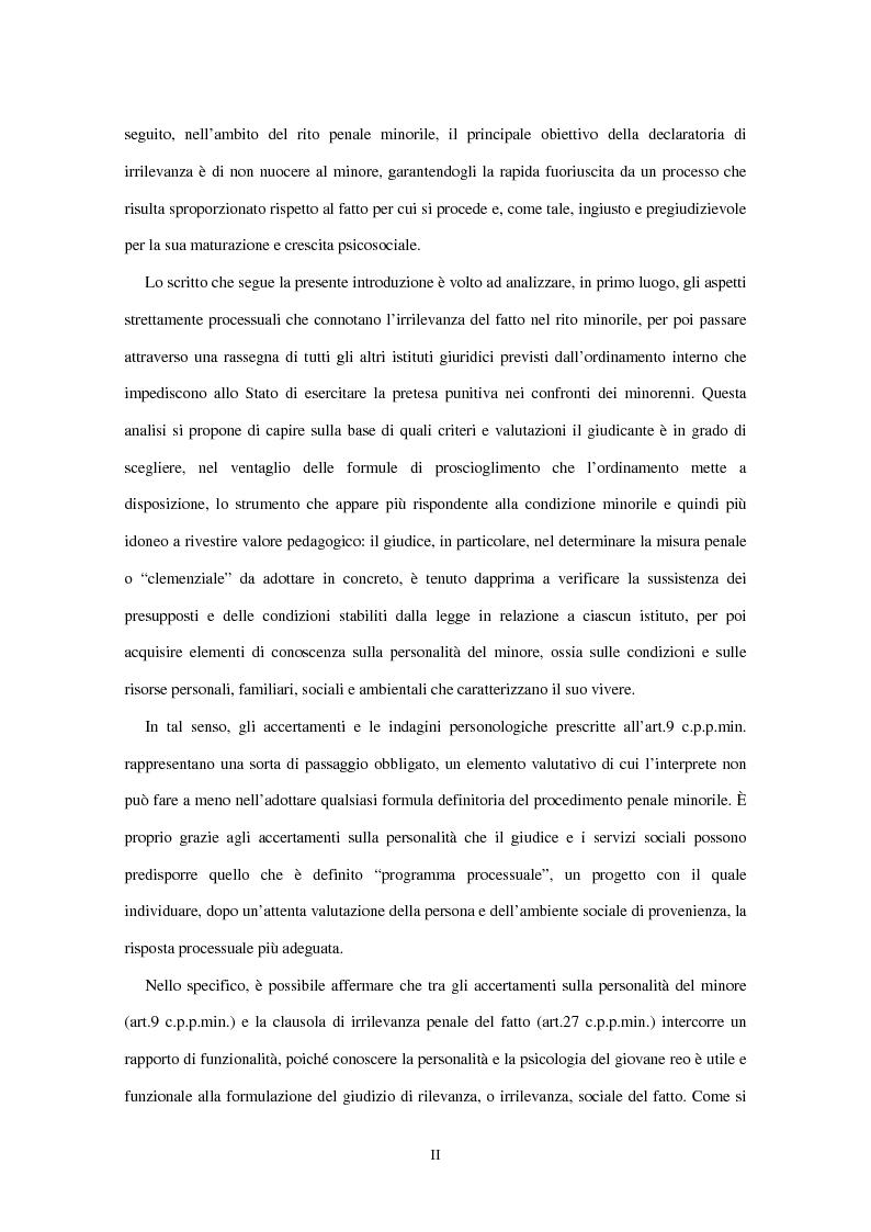 Anteprima della tesi: La clausola di irrilevanza del fatto nel processo penale minorile, Pagina 3